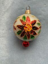 Rare Radko Christmas Ornament Winter Blossom (I Think) Poinsettia Ball Drop