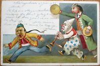 China/Chinese Man in Ponytail & Clown/Circus Men 1903 Postcard - Color Litho
