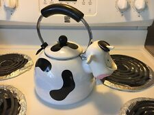 Vintage Kamenstein Whistling Cow Tea Kettle Pot Bell Enamel on Steel Teapot Box
