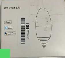 LED Smart Light Bulb Candelabra - 5W 400 Lumens, 2700K-6500K + RGB, 3 Pk