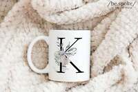 Floral Monogram Coffee Mug K Initial Mug Monogram Gifts With Letter K Cute Name
