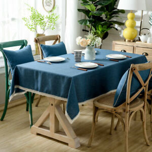 Cotton Linen Pure Tablecloth With Tassel Rectangle Table Cloth Dust Cover NEW