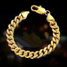 "8.5"" Mens Womens Stainless Steel Gold Cuban Curb Link Chain Bracelet + Box BR225"