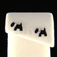 Dainty Black Scottish Terrier Scottie Westie Puppy Dog Enamel Stud Earrings Cute