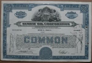 SUNRAY OIL CORPORATION. Stock certificate 1947 - Series: NJC07480