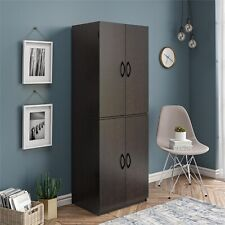 Tall Kitchen Pantry Storage Cabinet Cupboard Organizer Wood Tall Shelves, Black