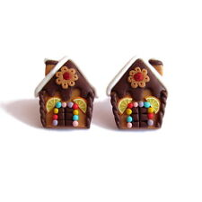 Polymer Clay Brown Gingerbread Man House Christmas Earrings Handmade Girls Gifts