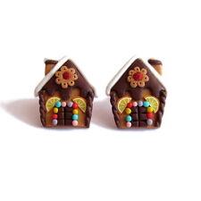 FIMO Marrone Pan di Zenzero Uomo Casa Natale Orecchini fatti a mano Regali Ragazze
