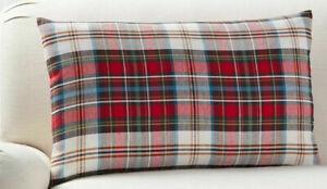 "Pottery Barn Holiday Christmas Declan Plaid Lumbar Pillow Cover -16"" x 26"""