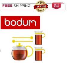 Bodum Assam Tea Pot Set 2 Glass Coffee Tea Mugs 2 Spoons YELLOW FREE SHIPPING