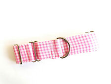 "1.5"" Martingale Dog Collar PICNIC PINK Greyhound Lurcher 12""-17"" MEDIUM"