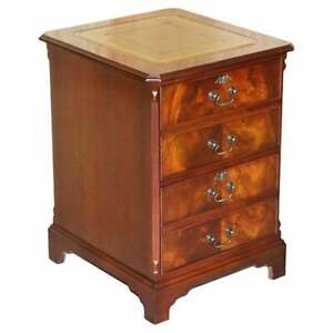 LOVELY VINTAGE FLAMED MAHOGANY GREEN LEATHER TOP OFFICE FILING CABINET DRAWERS