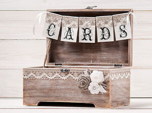 Rustic Wedding Card Box with Cards Banner, Gift Box