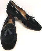 STUBBS & WOOTTON MEN'S BLACK VELVET W BLACK LEATHER TASSELS SLIPPERS LOAFERS 10