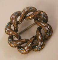 Antique Victorian Posy Enamel Love Knot Brooch Pin Blue & White GP Copper