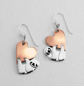 Far Fetched Jewelry SLOTH LOVE Earrings EW-496 Sterling Silver Copper Heart