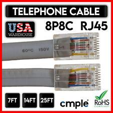 Phone Line Cable 8P8C RJ45 DSL Reverse Modem Fax Landline Telephone Cord 8 Wire