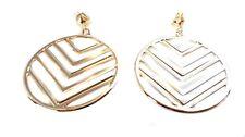 CLIP-ON EARRINGS 3 inch HOOP EARRINGS GOLD OR SILVER TONE chevron geometric hoop