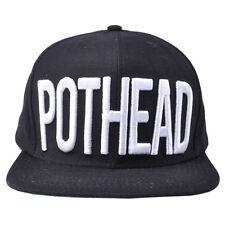 POTHEAD 3D TEXT SNAPBACK HAT CAP 420 MARIJUANA WEED LEAF KUSH BOOGER SCRIPT BLK