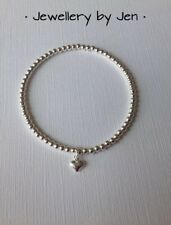 Silver stacking Bracelet Tiny Heart Stretch Sterling Silver Handmade 925