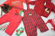 Christmas Holiday Mixed Lot Newborn Baby Girl Boy Pants Onesies Hoodies 0-3 MNT