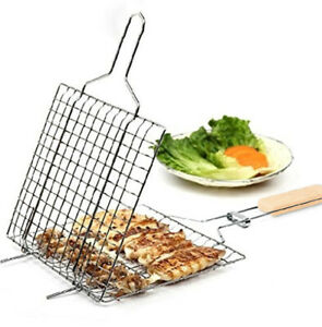 BBQ Barbecue Grill Steak Meat Fish Vegetable Holder Grilling Time Tools Outdoor