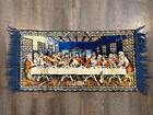 "Vintage Jesus & The Last Supper Rug Tapestry Plush Wall Hanging 38""x19"" + Fringe"