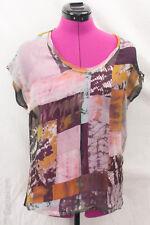 Raquel Allegra Patchwork Print Silk Chiffon Scoop Neck Top NWOT