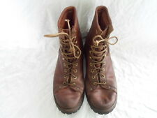Vintage REI Brown Leather Hiking Work Boots Union Made sole approx 31cm size 9 ?