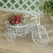 Tricycle Planter White Metal indoor Outdoor Garden Yard Plant Holder