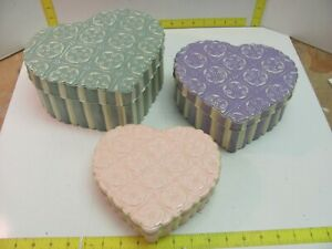 SET OF 3 LIDDED COLORFUL NESTING HEART STORAGE TINS EMBOSSED
