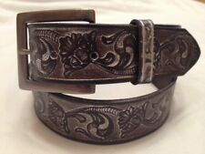 Western Embossed Leather Belt (30-32)