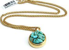 Yellow Gold 24k plated Necklace Set w Round Turquoise Gemstones Pendant