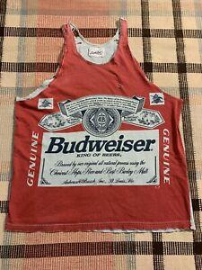 Vtg Faded Grunge Trashed Distressed Cut Off Budweiser T-Shirt Size L!!!