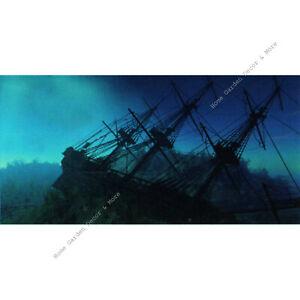 "TOP FIN Blue Ocean SHIPWRECK Aquarium Background Static Cling Film 18""x36"""