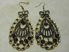 Large India inspired pierced fashion earrings in goldtone w/beads