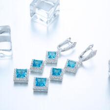 Women 925 Silver Filled Blue Green White Topaz Gemstone Elegant Dangle Earrings