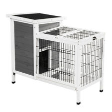 Wooden Outdoor Indoor Bunny Hutch Rabbit Cage Coop PET House Gray & White PET502