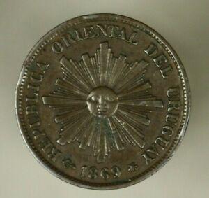 Uruguay  Centesimo 1869  XF+  A908