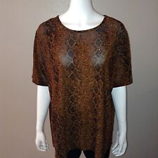 Kathy Ireland Blouse Size 1X Womens Knit Top Metallic Shirt Stretch Snake Print