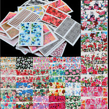50 x Mixed Flowers Pattern Sticker Water Transfer Nail Art Decals Decoration New