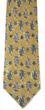 JOSEPH ABBOUD Mens Yellow Teal & Orange Abstract Print Silk Tie Necktie