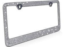 Metal License Plate Frame Bling RhineStones Chrome Swarovski Crystal Diamond - A