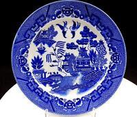 """JAPANESE PORCELAIN LOVE BIRDS BLUE WILLOW TRANSFERWARE 8 7/8"""" DINNER PLATE"""