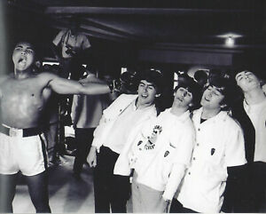 Muhammad Ali 8x10 b/w photo boxing throwing jab  with the Beatles