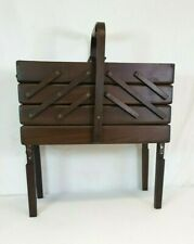 Vintage Wooden ACCORDIAN Style Fold-Out SEWING BOX on Legs Made in Romania RARE