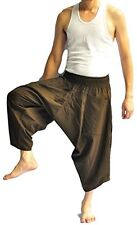 Thai fisherman pants Yoga Harem pants Samurai aladin Brown cotton, Free size
