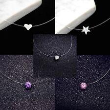 Transparent Fishing Line Clear Pink Purple Star Heart Pendant Choker Necklace