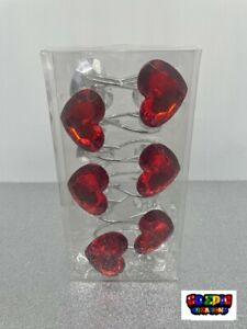 Red Hearts Crystal Acylic Shower Curtain Hooks