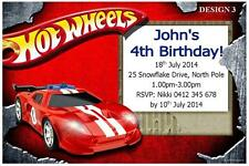1 x HOT WHEELS CHILDRENS BOYS BIRTHDAY PERSONALISED INVITATIONS + FREE MAGNETS